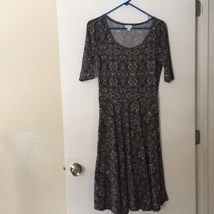 Lularoe Julia Charcoal Gray Multi Dress